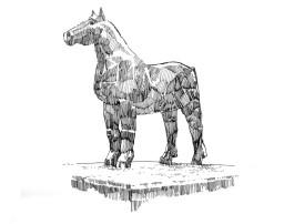664 Finistère – Sculpture de Paotr Mad cheval – Landivisiau